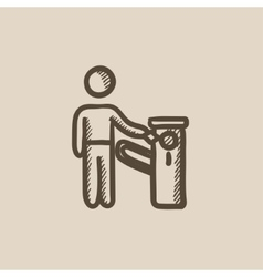 Man at car barrier sketch icon vector