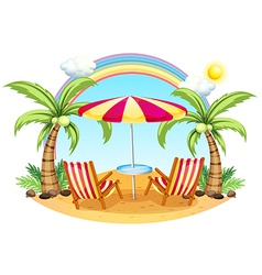 A seashore with a beach umbrella and chairs vector image vector image