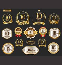 anniversary golden laurel wreath and badges 10 vector image vector image