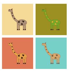 Assembly flat icons kids toy giraffe vector