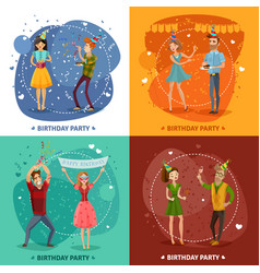 birthday party 4 icons square composition vector image vector image