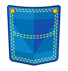 blue pocket icon flat style vector image
