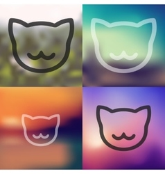 Cat icon on blurred background vector