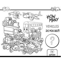 Counting vehicles coloring page vector