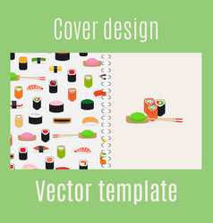 cover design with sushi pattern vector image