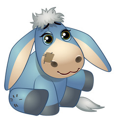 Cute donkey - old childrens stuffed toy with patch vector