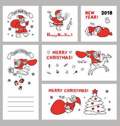 cute set sketch of funny santa vector image vector image