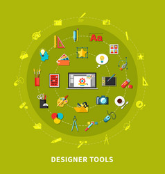 Designer tools colored concept vector