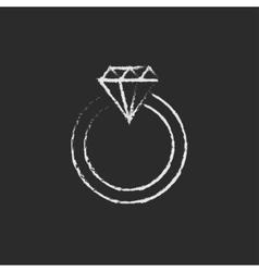 Diamond ring icon drawn in chalk vector