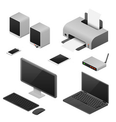 Digital workstation isometric computers vector