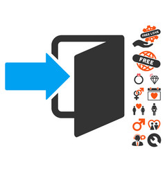 Exit door icon with love bonus vector