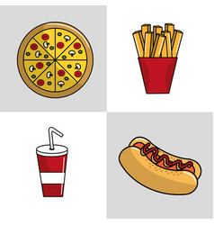 Fast food background icon vector