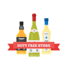 flat icon of duty free alcohol at airport vector image