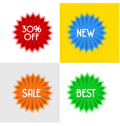 Four disccount round badges vector