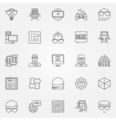 Geek icons set vector