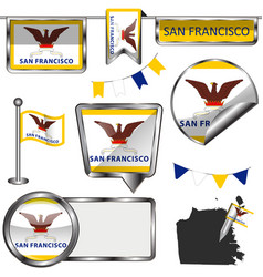 Glossy icons with flag of san francisco vector