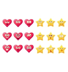 Golden star pink heart emoji character set vector