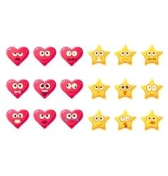 Golden Star Pink Heart Emoji Character Set vector image vector image