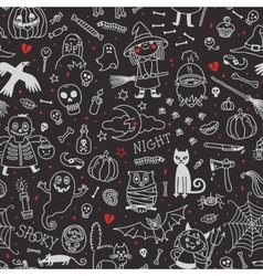 Halloween seamless pattern Pumpkin Ghosts Cats vector image vector image