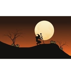 Halloween witch and full moon in hills vector image vector image