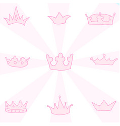 Hand drawn crowns set vector