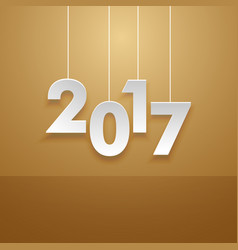 Hanging 2017 text in minimal style card vector