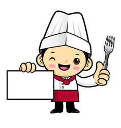 head chef character holding a business card and a vector image