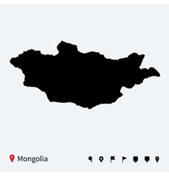 High detailed map of mongolia with navigation pins vector
