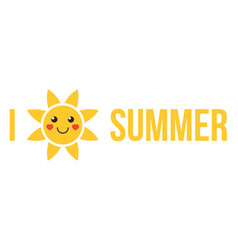 i love summer flat design vector image vector image