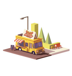 Low poly hot dog food truck vector