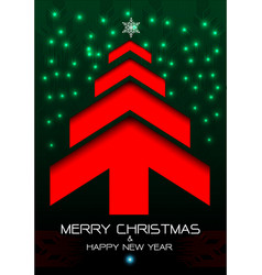 Merry christmas and happy new year red arrow green vector
