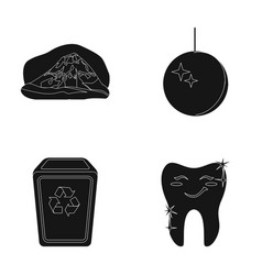 Mount glass bowl and other web icon in black vector