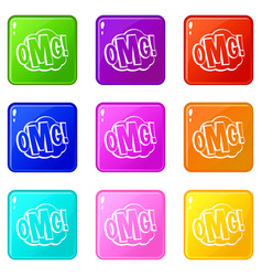 Omg comic text speech bubble icons 9 set vector