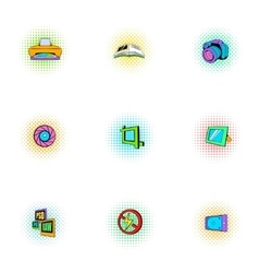Photography icons set pop-art style vector