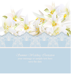 Pink lily card delicate summer card vector