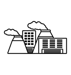 Plant nuclear and factory building outline vector