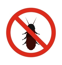 Prohibition sign coleoptera icon flat style vector image vector image