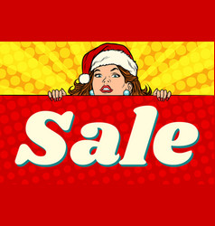 santa girl with sale poster vector image vector image