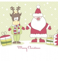 santa reindeer and gift illustration vector image vector image