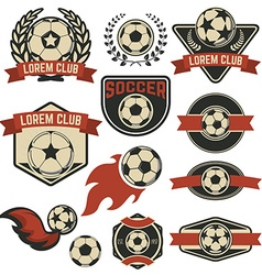 Set of the soccer club emblems design element vector image