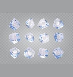 Set of twelve transparent ice cubes vector