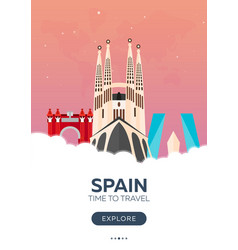 Spain time to travel travel poster flat vector