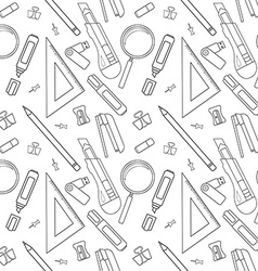 Stationery tools line art pattern vector