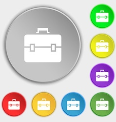 suitcase icon sign Symbol on eight flat buttons vector image