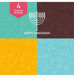 Thin line happy hanukkah holiday patterns set vector