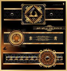 vintage black gold frame label vector image vector image