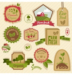 Vintage organic labels vector