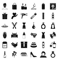 Woman thing icons set simple style vector