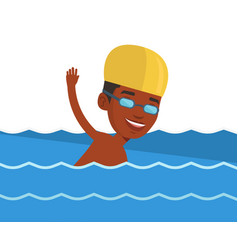 Young african-american man swimming vector