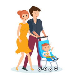 young family walking in park spends time together vector image
